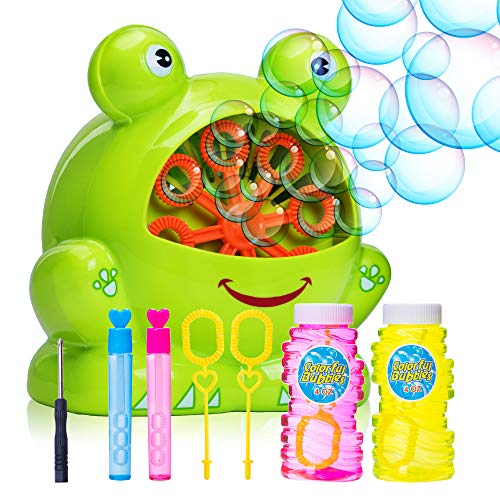 Bubble Machine for Kids - Portable Durable Automatic Bubble Blower with Over 500 Bubbles Per Minute - Birthday and Christmas Party Gifts for Children - Outdoor and Indoor Toy - Battery Operated ()