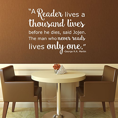 Book Quotes Wall Decals - A Reader Lives a Thousand Lives -