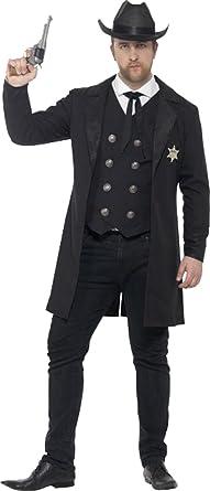 Curves Sheriff Costume Chest 42u0026quot;-44u0026quot; ...  sc 1 st  Amazon UK & Men Adults Fancy Dress Halloween Party Curves Sheriff Wild West Cow ...