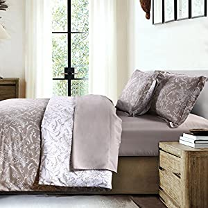 Southshore Fine Linens - Winter Brush Print - Reversible Comforter Sets, 3 Piece Set, Full / Queen, Warm Sand