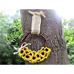 Sunflower Burlap Grapevine Wreath for Front Door- Fall Wedding Decor- Outdoor Summer Decoration