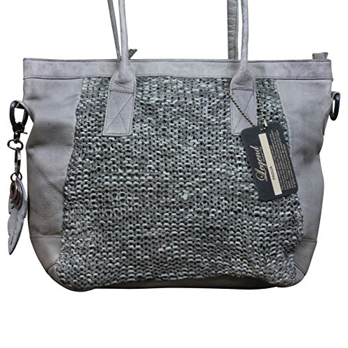 LEGEND Flecht Schultertasche Damen - Tasche Shopper Leder im Vintage-Style, Farbe:Grau Grau