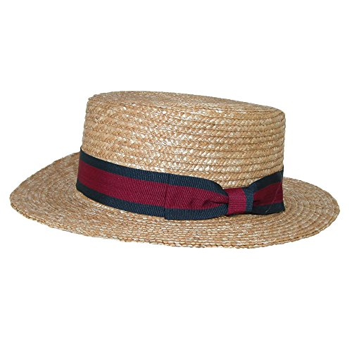CTM Straw 2.5 Inch Brim Boater Hat With Navy Band, Large, (Straw Derby)