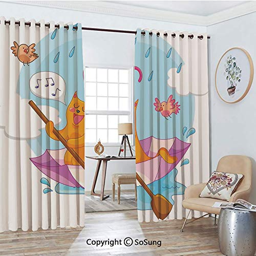Thermal Insulated Blackout Patio Door Drapery,Cute Cat Under The Umbrella Sail in The Clouds and Humor Cartoon Kids Nursery Theme Room Divider Curtains,2 Panel Set,100