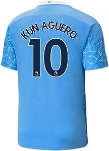 2020-2021 Manchester City Home Football Soccer T-Shirt Jersey (Sergio Aguero 10)