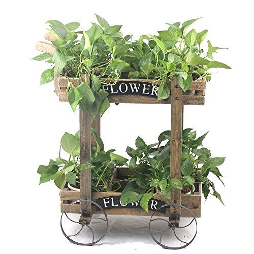 Nursery Wagon Garden Cart (2 Tier 12 Pocket Wood Garden Cart Shelf Wagon with Metal Rolling Wheel Flower pot)
