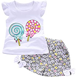 OrchidAmor 2PCS Baby Girls Cute Lolly T-Shirt Tops+Short Pants Toddler Kids Clothes Set Lolly T-Shirt Tops+Short Pants White
