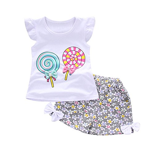 Mysky Toddler Kids Baby Popular Lovely Bowknot Lollipop Print Ruffle Fly Sleeve Tops+Floral Print Pants Clothes Set White