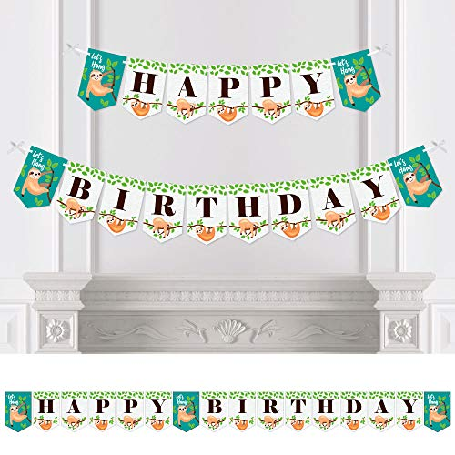 Big Dot of Happiness Lets Hang - Sloth - Birthday Party Bunting Banner - Birthday Party Decorations - Happy Birthday