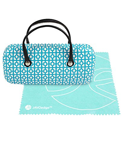 JAVOedge Blue Handbag Style Hard Eyeglasses Case and Bonus Free Soft Microfiber Lens Cleaning Cloth