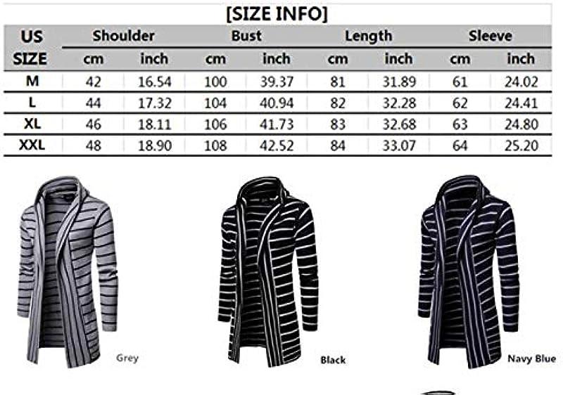 Męskie gestreifte gespleißte Lange Strickjacken Mans Hooded Knitted Sweater Slim Cardigan Outwears: Odzież