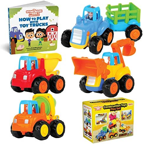 Educational Play Set for Kids Age 1, 2, 3 – Push & Pull Cars for Two Year Olds – Storybook Toys for 2 Year Old Boy –Toys for 1 Year Old – Toddler Construction Friction Toy Trucks for 2 Yr Old Boys
