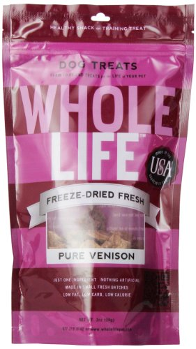Whole Life Pet Single Ingredient USA Freeze Dried Venison Treats for Dogs, 2-Ounce