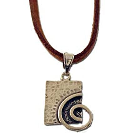1f777011cd5 Amazon.com  Ancient Greek Spiral Motif Sterling Silver Rectangular Pendant  with leather cord (17mm)
