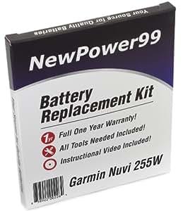 Kit de Reemplazo de la Batería para Garmin Nuvi 255W Serie (Nuvi 255W, Nuvi 255WT) GPS con Video de Instalación, Herramientas y Batería de larga duración