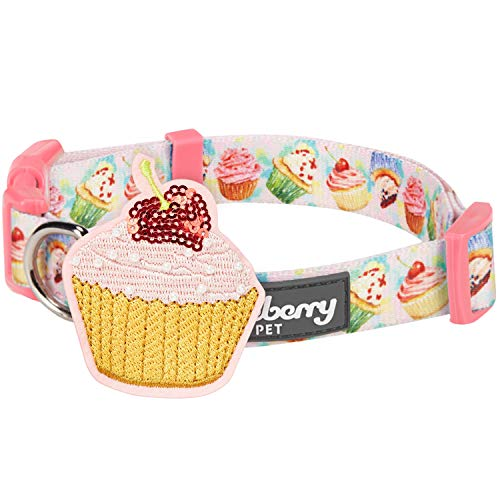 (Blueberry Pet 2019 New Party Ideas Sweet Delight Cupcake Designer Dog Collar in Lavender Blush with Decoration, Small, Neck 12
