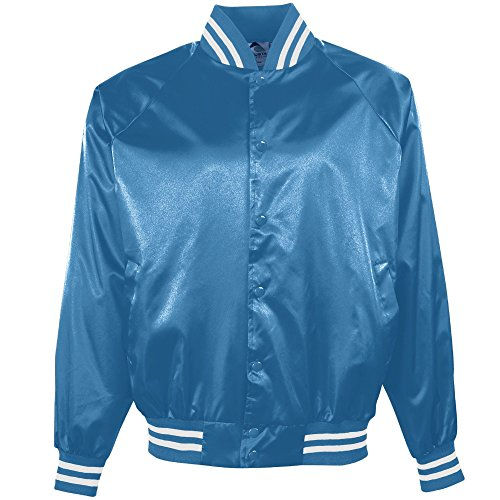 Augusta Sportswear Men's Satin Baseball Jacket/Striped Trim M Columbia Blue/White