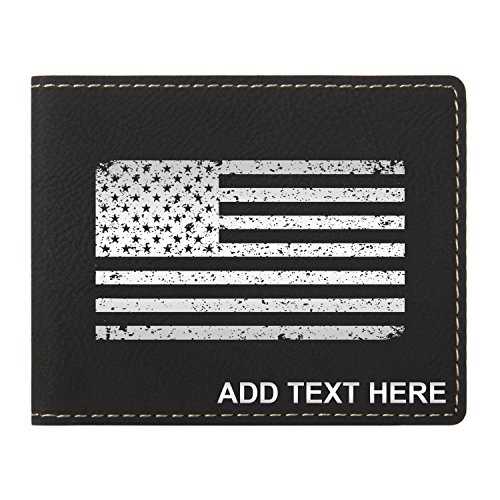 Flag Long Wallet - Personalized Engraved American Flag Grunge Vegan Leather Wallet Bk & Silver
