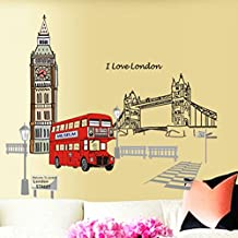 London Bus Building Bridge Road Wall Decal Home Sticker PVC Murals Paper House Decoration Wallpaper Living Room Bedroom Art Picture for Kids Teen Senior Adult Baby