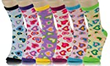 Crew Cut Novelty Socks 6 Pairs Assorted Colors Size 9-11 (9-11, Mini Hearts)