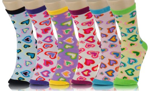 Crew Cut Novelty Socks 6 Pairs Assorted Colors Size 9-11 (9-11, Mini Hearts) by Yelete