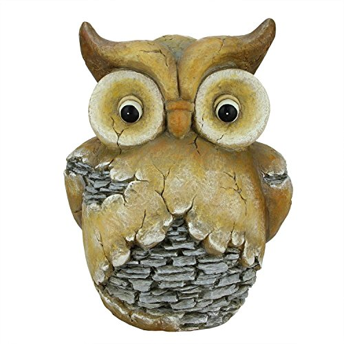 Northlight 17.5″ Rustic Brown and Gray Stone-Look Owl Spring Outdoor Patio Garden Statue