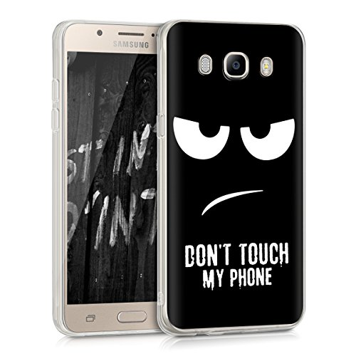 kwmobile Case for Samsung Galaxy J5 (2016) DUOS - TPU Silicone Crystal Clear Back Case Protective Cover IMD Design - White/Black