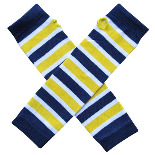 So Sydney Team School Spirit Sports Fan ARM Warmers, Baby, Toddler, Girl, Boy (Team Navy Blue & Yellow) (Blue And Yellow Cheerleader Outfit)