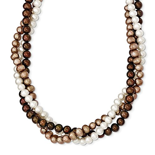 Gold Fw Brown Pearl (Q Gold Jewelry Necklaces Pearls SS 5-6mm White, Brown, Beige FW Cultured Potato Pearl with 2in ext. Necklace)