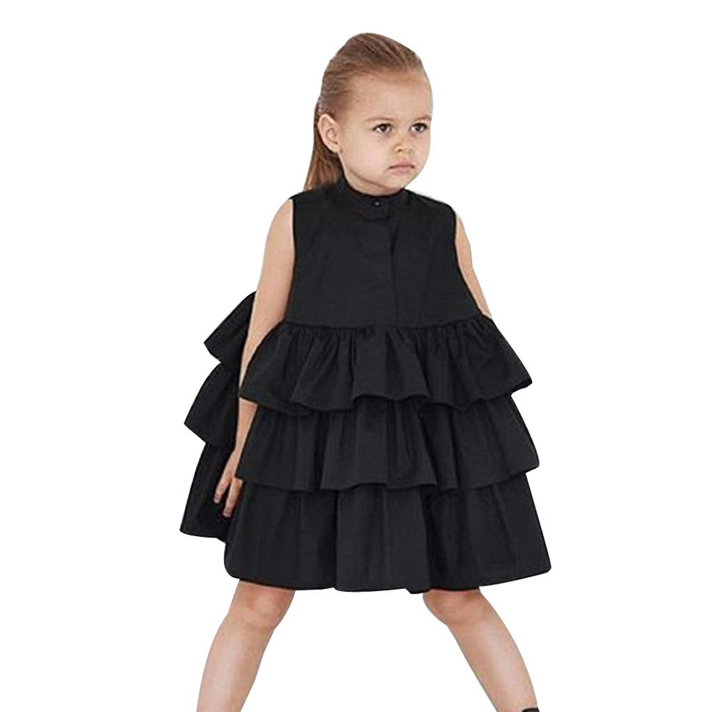 Girls Cake Dresses Casual Baby Toddler Kids Sleeveless Ruffle Hem Solid Color Tutu Bubble Dress (4-5 Years, Black)