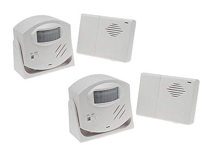 Juego de 2 48578 con función de alarma y detector de movimiento PIR, alcance 110