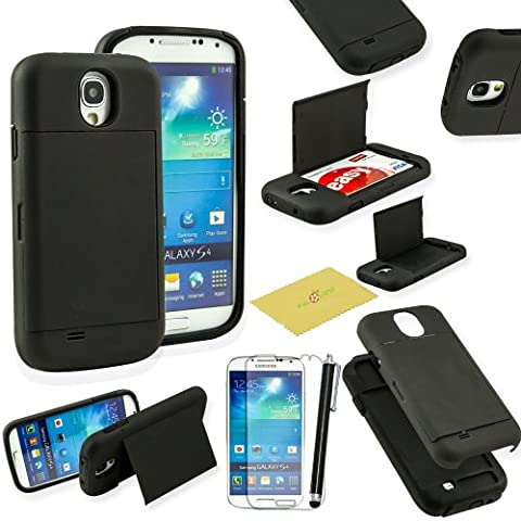 Fulland Hybrid Body Armor Silicone + Hard Case Cover with Credit Card ID Card Holder and kickstand for Samsung Galaxy S4 I9500 Plus Stylus Pen and Screen Protector (Galaxy S4 Cases With Card Holder)