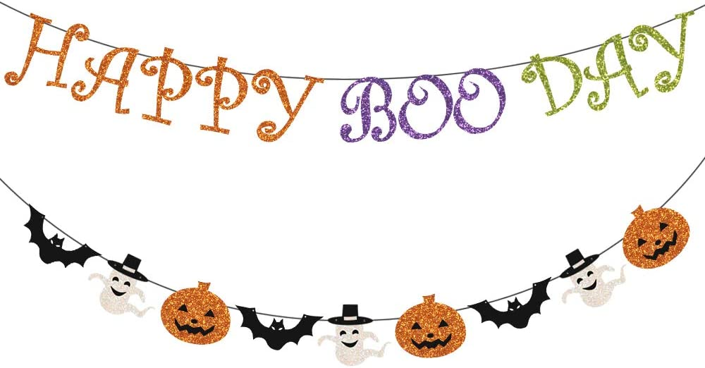 Happy Boo Day Halloween Banner with Glitter Pumpkin Ghosts Bat Sign, Black Glitter Halloween Bunting Halloween Decor Indoor Outdoor, Happy Halloween Banner for Mantle Fireplace Home Office Garland Party Decoration Supplies,Scary Halloween Theme Party Decorations