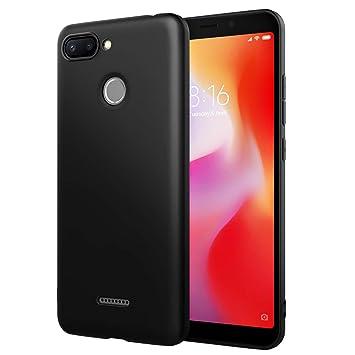 Simpeak Funda Compatible Xiaomi Redmi 6, Funda Redmi 6 Carcasas Redmi 6 Silicona Case Suave TPU Anti Deslizamiento, Negro