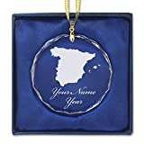 SkunkWerkz Christmas Ornament, Country Silhouette Spain, Personalized Engraving Included (Round Shape)