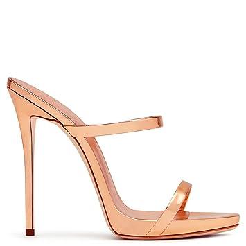 LUCKY CLOVER-A Sandalias De Tacón Alto Mujeres Zapatos De Corte Clásico  Tacón De Aguja Open Toes Rose Gold Blink Shoes Zapatillas d3ae9c903c7c