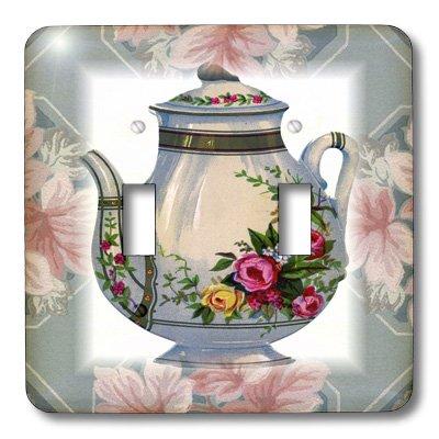 3dRose lsp_37380_2 Victorian Flower Teapot On Blue Pink F...