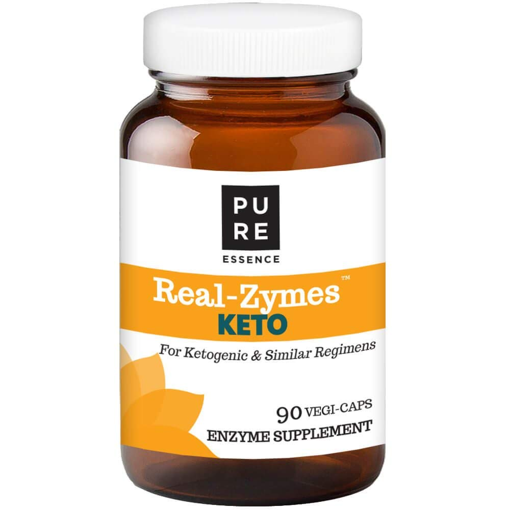 Real-ZymesTM Keto Digestive Enzymes Supplement with Probiotics for Better Digestion - Natural Support for Relief of Bloating, Gas, Belching, Diarrhea, Constipation, IBS, etc. - 90 Caps by PURE ESSENCE LABS