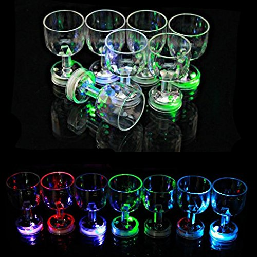 24 PC Flash Light Up Cups Flashing Drinking Shots LED Bar Night Club Party Drink Glasses (Wine Shot) ()