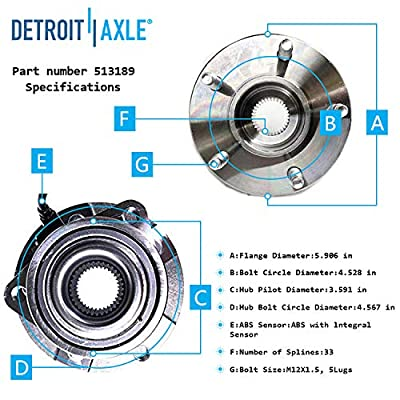 Detroit Axle 513189 Front Wheel Bearing & Hub Assembly Driver or Passenger Side for Pontiac Torrent Chevy Equinox Saturn Vue 2002 2003 2004 2005 2006 2007 Pontiac Torrent: Automotive