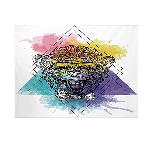 (Sketchy Photography Background,Funny Monkey Animal with a Bowtie on Geometric Artistic Watercolor Style Backdrop Decorative Backdrop for)