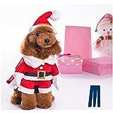 Mikayoo Christmas Costumes for Small Dog Medium Dog Or Cat, Santa Suit with Hat,Santa Dress with Hat, Santa Claus Costumes Christmas Holiday, Xmas Coat with Santa Hat, Xmas Dress with Santa Hat(XL)