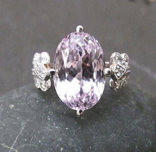 Kunzite Ring (Unique Engagement Ring- Purple Engagement Ring- Art Deco Engagement Ring- Alternative Engagement Ring- Oval Kunzite Anniversary Ring)