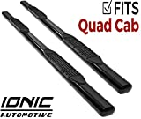 Ionic 5' Black Steel Oval Nerf Bars (fits) 2019-Up Dodge Ram Quad Cab (New Body) Only Truck Side Steps (423809B)