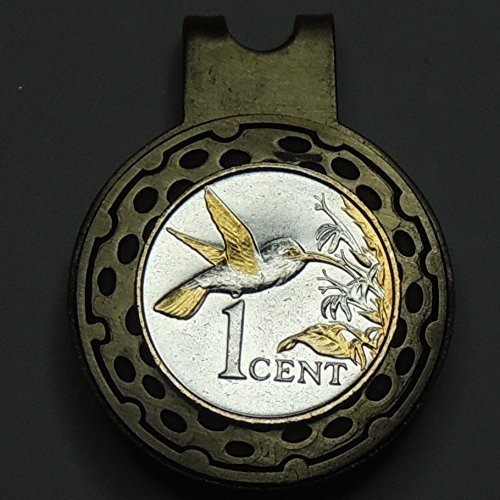 Golf Hummingbird (Trinidad & Tobago Hummingbird, 2-Toned (Uniquely Hand done) Gold & Silver coin - Golf Ball Marker - Hat clips magnetic for men - women - boys - accessories)