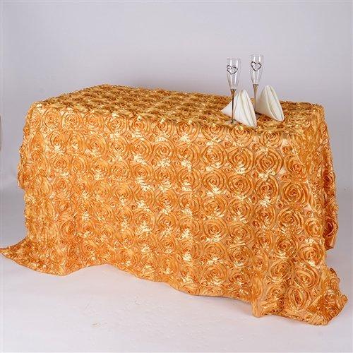 - BBCrafts 90 Inch x 156 Inch Rosette Florals Satin Rectangular Tablecloths (Gold)