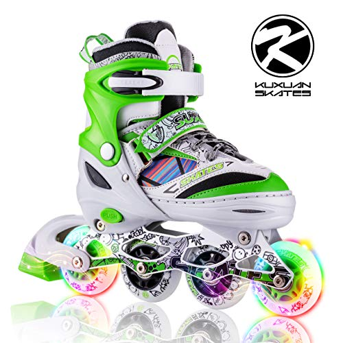 Kuxuan Kids Doodle Design Adjustable Inline Skates with Front and Rear Led Light up Wheels, Comic Style Skates for Boys - M