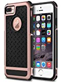iPhone 7 Plus Case, GeekZone Hybrid Shockproof [Drop Protection] Phone Cover Soft TPU Bumper Hard PC Case Anti-Slip Matte Stripe Designed Protective Case (Rose Gold)