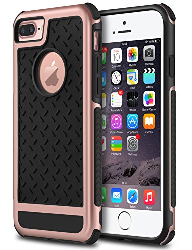 iPhone 7 Plus Case, GeekZone Hybrid Shockproof [Drop Protection] Phone Cover Soft TPU Bumper Hard PC Case Anti-Slip Matte Stripe Designed Protective Case (Rose Gold) For Sale