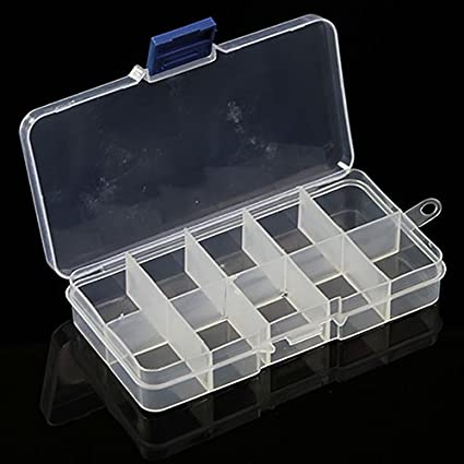 Baost 10//15//24 Grid Detachable Jewelry Storage Box Jewelry Craft Organizer Beads Storage Container Adjustable Plastic Storage Case Earring Sewing Pills Storage Containers #1 15 Compartments